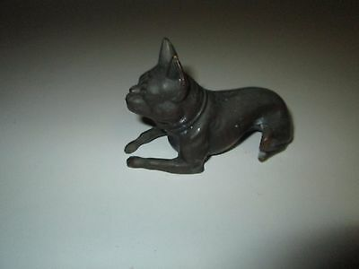Vintage Metal Boston Terrier Dog Statue Figurine marked J.B.14-39
