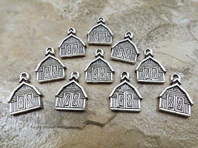 Set of 10 Pewter BARN  Charms - 0792