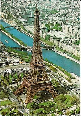 Eiffel Tower and Seine, Paris - Aerial View - Posted Postcard