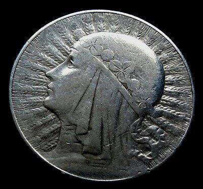 POLAND 10 zlotych 1932 silver coin Head of a Woman