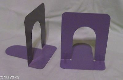 2 Pair Gray  Metal Library Style Book Ends In Good Condition