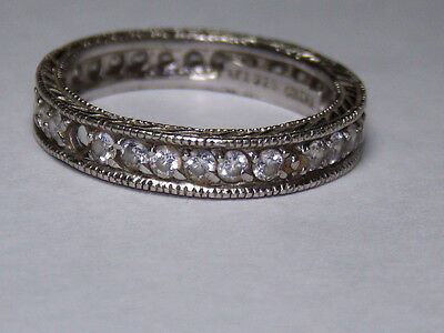 Sterling Silver 925 Estate Ati Cubic Zirconia Eternity Band Ring Size 8
