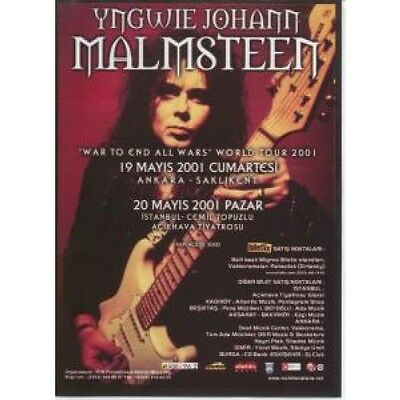 YNGWIE MALMSTEEN War To End All Wars World Tour 2001 FLYER Turkish Full Colour