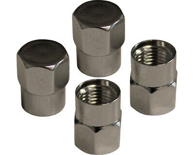 Pack of 4 Silver Alloy Hex & Round Tyre Valve Caps