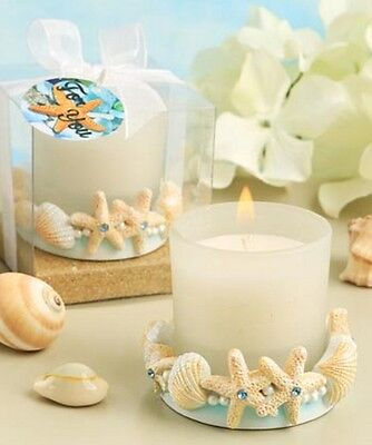 Starfish Shell Summer Beach Candle Holder Set of 2 With Gift Box NEW In Box