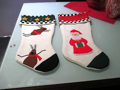 "Two Christmas Stockings 18.5"" Knit With Appliques Reindeer & Santa"