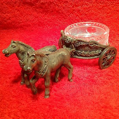 Antique Victorian Horses with Charriot Open Salt, m17