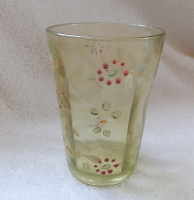 Victorian Green Glass Tumbler With Enameled Floral Spray