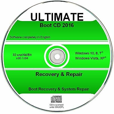 Ultimate Boot & Recovery CD, Windows 10, 8, 7, Vista, XP  ✔ NOTHILFE CD  ✔2016