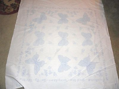 Bucilla 45178 Butterfly Lap Quilt Top Panel Only Stamped Cross Stitch Embroidery