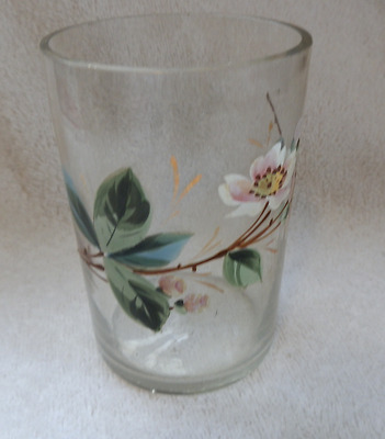 Victorian Glass Tumbler With Enameled Spray Flowers