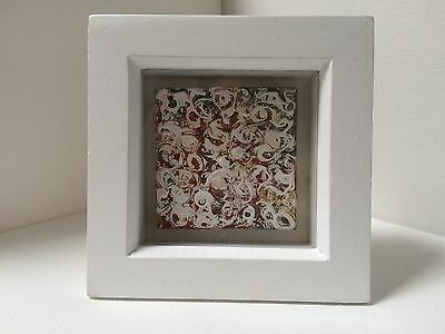 ABSTRACT FLORAL   ORIGINAL MINI CANVAS ACRYLIC PAINTING FRAMED 12x12CM
