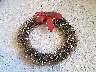 "Vintage Xmas Bottle Brush Wreath--Merc Beads--Mica Flocked--Ribbon--7""--Very Old"