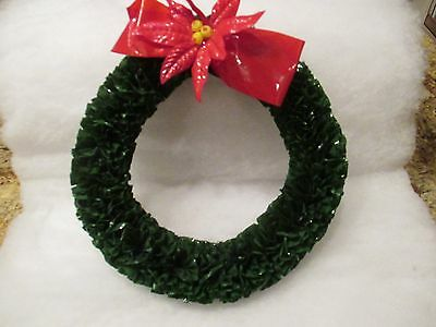 Vintage Christmas Wreath--Rare Green Plastic--Red Poinsettia--8 1/2""