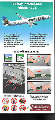 1 x FRONTIER A321 SAFETY CARD *10/15*