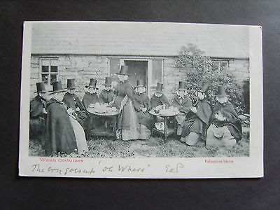 Group Of Welsh Women In Traditional Costume, Taking Tea - Printed - Posted 1903