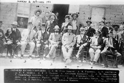 FRANCISCO MADERO WITH ADVISORS MEXICAN REVOLUTION 8x12 SILVER HALIDE PHOTO PRINT