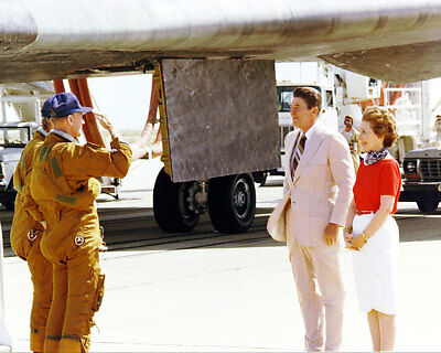 Ronald Reagan Saluted by Shuttle Crew 11x14 Silver Halide Photo Print