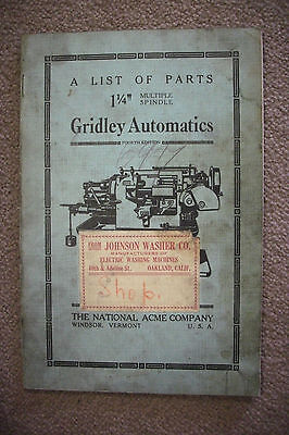 1920 Trade Catalog THE NATIONAL ACME COMPANY Parts For Gridley Automatic Spindle