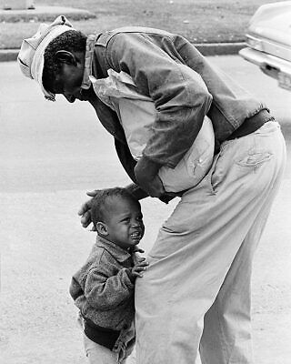African American Man w/ Crying Child Candid 11x14 Silver Halide Photo Print