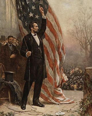 Abraham Lincoln with American Flag Painting 11x14 Silver Halide Photo Print