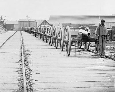 Civil War Cannons Guarded By Black Soldier 11x14 Silver Halide Photo Print