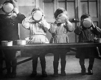 WWII Orphans in France Enjoy a Meal 11x14 Silver Halide Photo Print