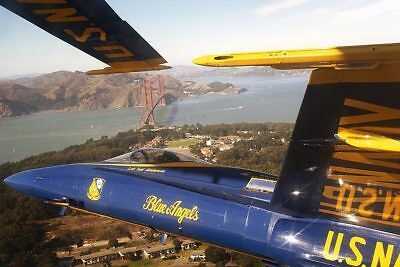 U.S. NAVY BLUE ANGELS OVER SAN FRANCISCO 8x12 SILVER HALIDE PHOTO PRINT