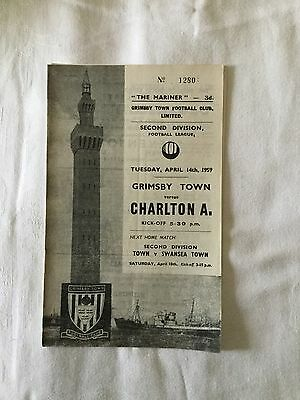 GRIMSBY TOWN v CHARLTON ATHLETIC 1958/9.