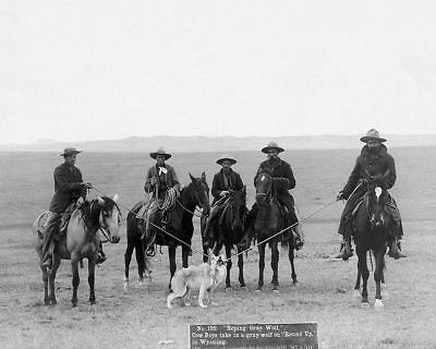 Old West Cowboys Roping Wolf 1887 11x14 Silver Halide Photo Print