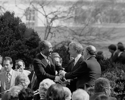 Jimmy Carter, Begin and Sadat at Treaty Signing 11x14 Silver Halide Photo Print