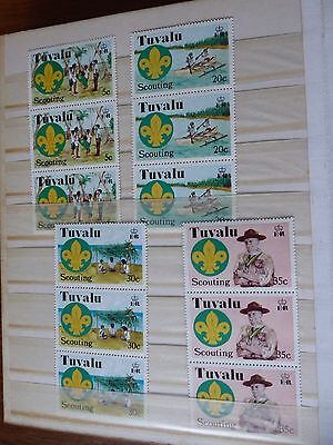 Tuvalu Scouting Commemoratives. 4 Unmounted Mint Sets Of 4 Values