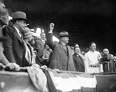 President Herbert Hoover Throwing Baseball 11x14 Silver Halide Photo Print