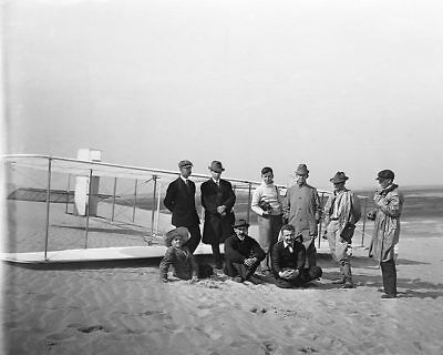 Wright Brothers w/ Reporters & Glider 1911 11x14 Silver Halide Photo Print
