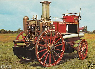 1894 Shand Mason Steamer - Southgate District Council FB - Fire Engine Postcard