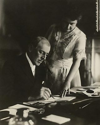 President Woodrow Wilson at Desk with Wife Edith 11x14 Silver Halide Photo Print