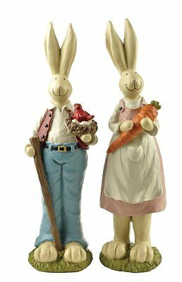 Hand Painted Set of 2 Fathers Day Gifts bunny decor, Easter Decoration Rabbit