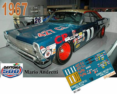 CD_DC_1967 #11 Mario Andretti  1967 Ford Fairlane  NASCAR   1:25 scale decals