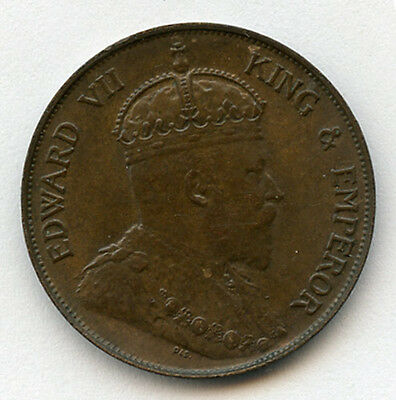Hong Kong 1902 Issue King Edward Vii 1 Cent Brown Nice Au.