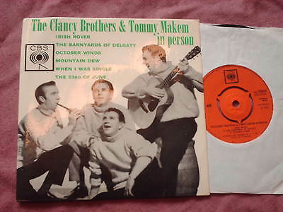 "CLANCY BROTHERS & TOMMY MAKEM IN PERSON 7"" EP Irish Rover etc"