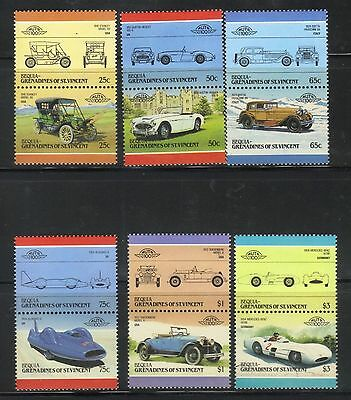 BEQUIA GRENADINES 1986 LEADERS OF THE WORLD AUTOMOBILES CARS 5th SERIES SET MNH