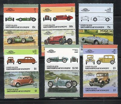 UNION ISLAND GRENADINES LEADERS OF THE WORLD AUTOMOBILES CARS 4th SERIES SET MNH