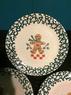 "Lot of 3 Folkcraft Ginger Bread Tienshan China Christmas 10 1/2"" Dinner Plates"