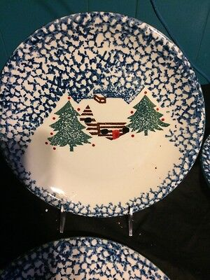 4 Folk Craft Cabin In The Snow Pattern Stoneware Dinner Plates By Tienshan