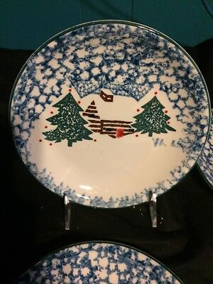 Lot Of 4 Tienshan CABIN IN THE SNOW Folk Craft Spongeware Salad/Dessert Plates