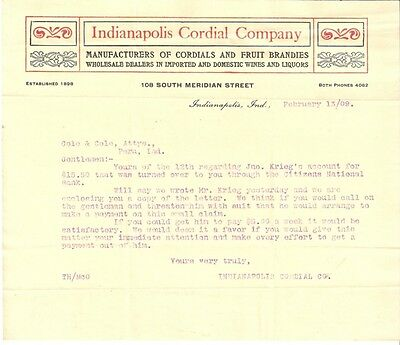 1909 Letter From Indianapolis Cordial Co. Indianapolis  Indiana