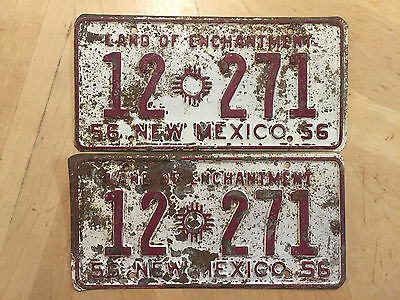 """1956 New Mexico Truck License Plate Plates Matching Pair """" 12 271"""" Nm San Miguel"""
