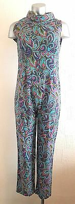 Vintage 60S Iconic Blue & Pink Psychedelic Hippy Fitted All In One Jumpsuit 8