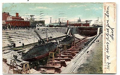 "Brooklyn New York 1906 ""u.s. Submarine Plunger""--Platinachrome Post Card View"