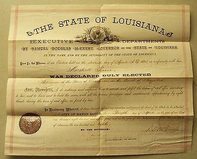 State Of Louisiana..Samuel Douglas McEnery Governor signed document 1884 Vintage